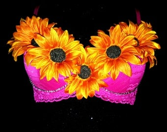Hot Pink Sunflower Bra