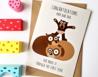 1st birthday card, baby birthday, milestone, parenting card - Niece, Nephew, Granddaughter, Grandson  congratulations Mum and Dad