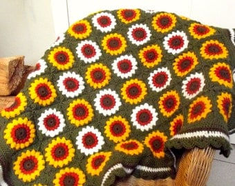 handmade crocheted sunflower and daisy square blanket