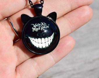 Cheshire Cat Ear Necklace, We're All Mad Here Necklace, Alice in Wonderland Jewelry, Cheshire Cat Smile Necklace, Were All Mad Here Quote