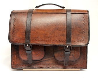 SALE 15% OFF* Genuine Leather Briefcase Backpack, Leather Bag, Leather Satchel, Leather Backpack, Vintage briefcase, brown