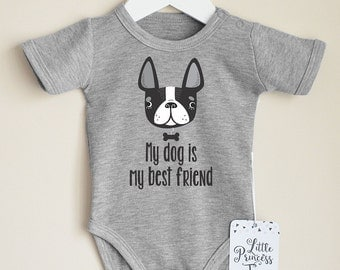 Boston Terrier Baby Clothes. Baby Girl Or Baby Boy Bodysuit with Boston Terrier Print. Dog Baby Clothes. Gender Neutral Baby Shower Gift.