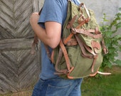 Military Rucksack with LEATHER STRAPS, Military Green Backpack, Vintage Army Rucksack, LIGHT Canvas Backpack, Army Hiking Bag, Big Backpack