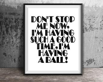 Don't Stop Me Now, Queen Lyrics, Freddie Mercury, Instant Download, Digital Prints, Song Lyrics, Queen Posters, Music Gifts, Wall Art