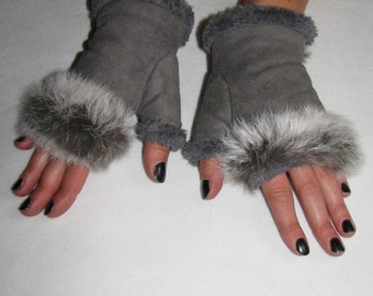 Vintage gray GLOVES fingerless fur gloves women
