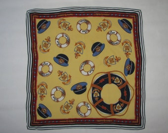 Silk SCARF Loredano marine pattern SHAWL sailor