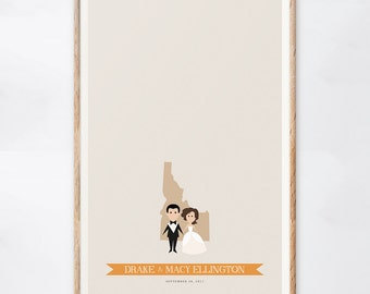Idaho Wedding Guest Book Alternative, Custom Idaho Wedding Sign, State Print, Gift for the Couple, Guestbook Ideas