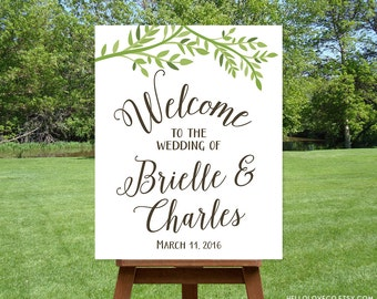 PRINTABLE Wedding Welcome Sign, Personalized Large Wedding Sign, Reception Sign Printable, Leafy Outdoor Wedding, DIGITAL
