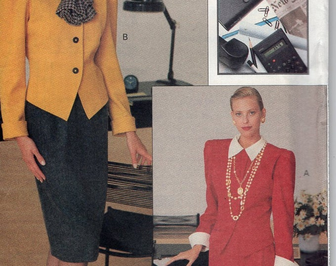 Free Us Ship Sewing Pattern Vogue 7592 Vintage Retro 1980s 80s Career Couture Suit Jacket Skirt 1989 Size 6 8 10 Bust 30.5 31.5 34 Uncut
