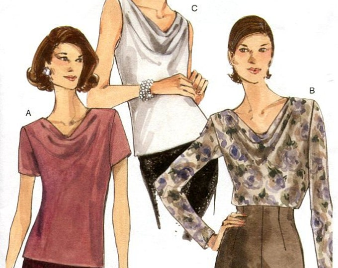 FREE US SHIP Vogue 9771 Draped Tops Sleeve Variations Out of Print 2001 Size 6 8 10 12 14 16 Bust  30 31 32 34 36 38 New Old Store Stock