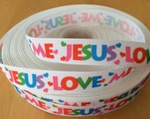 "Jesus Loves Me 7/8"" Grosgrain Ribbon, Choose between 1-10 yards"