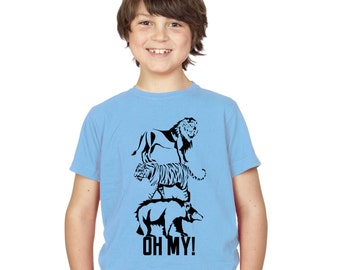 Kids Lions Tigers & Bears Oh My! T-Shirt / Childrens Animal TShirt in Pink, Grey, Light Blue, Yellow, Orange Ages 3-4, 5-6, 7-8, 9-11, 12-13