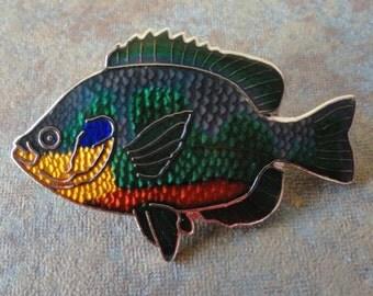 beautiful and colorful vintage tropical fish enamel pin pinback