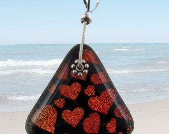 Heart fused dichroic glass pendant with sterling silver bail