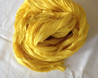 Pleated pure silk scarve, naturals dyes