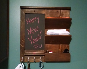 Entryway Organizer, Letter Organizer, Bill Station, Chalkboard, Key Hooks, Entryway Chalkboard, Mud Room Organizer, Rustic Letter Holder