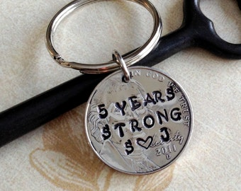 Personalized 5 Year Anniversary Keychain/ Hand Stamped Nickel/ 2012 Couple Gift/ Wedding /5 Year Anniversary/ Gift for Her Gift For Him