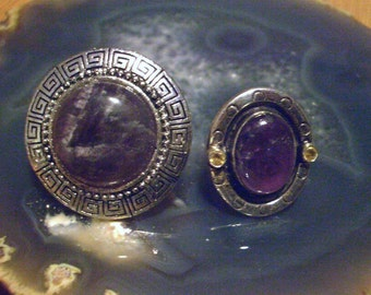 2 Styles: Round CHEVRON AMETHYST Alloy Adjustable Ring and Oval Amethyst Quartz UFO Style Silver-Plated Ring Sz.