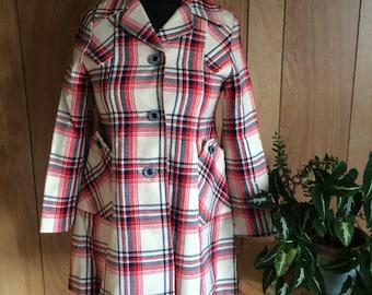 Vintage 1960's Plaid Wool Coat Womens XS/S