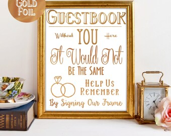 """Real Foil """"Sign Our Frame"""" Guestbook Sign"""