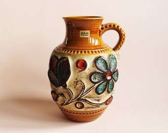 Vintage Vase. West German Pottery. Bay Ceramic. WGP. Vase ancien. Amphora. Brown Vase. Coffee Vase. Floral Vase. 95-25. Mid Century Modern