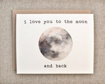 love card - I love you to the moon and back - to the moon and back - romance card - I love you card  - moon card