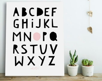 Personalized Alphabet Poster, Alphabet Poster, Nursery Alphabet Poster,Personalized Nursery Printable,Personalized Kids Prints, Alphabet Art