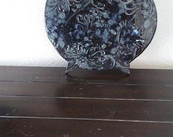 Ceramic Kitchen Cauldron Trivet Black and Blue, Kitchen Trivet, Kitchen Decor, Ceramic Cauldron, Ceramic Trivet