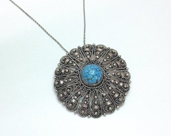 Old pendant / brooch with Turquoise Silver 800 filigree vintage handmade SK292