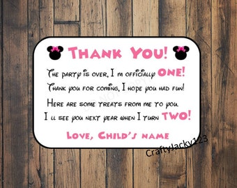 Minnie Mouse thank you cards, Minnie Mouse Birthday, Minnie Mouse party favors, minnie mouse birthday party, 2x3 digital download