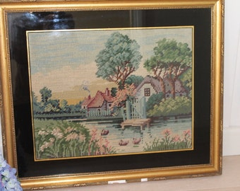 Vintage River Cottage/Mill Needlepoint/Tapestry/Embroidery Picture