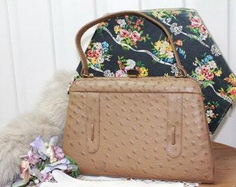 Vintage Ostrich Handbag/1960's Tan Leather Bag/Leather Pocket Book/Natal Parks Handbag/SALE(3J)