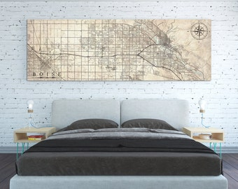 BOISE ID Canvas Print Idaho Vintage map Boise id Vintage map City Horizontal Large Long Wall Art old antique home decor panoramic poster map
