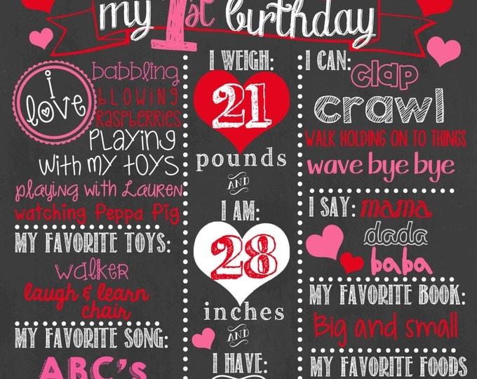 Valentine First Birthday Chalkboard / Girl First Birthday Chalkboard / Red Chevron Chalkboard / Valentine's Day Chalkboard / Chevron Hearts