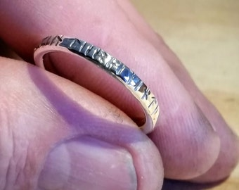Silver ring with Viking Rune incription, 2.5 mm wide, handmade