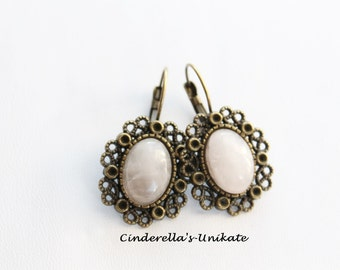 Earrings in vintage style with gemstone Rose Quartz