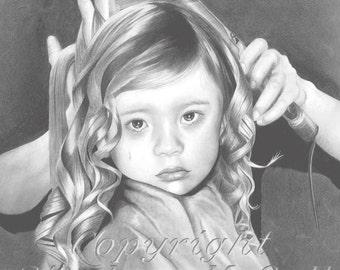 "Giclee fine art print of original  ""Emily"" pencil drawing, children art, hairdressers, first haircut, young girl portrait, custom portraits"