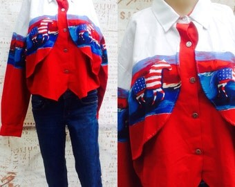 Cowgirl !!! Rodeo Country patriotic Horse button down vintage shirt vest