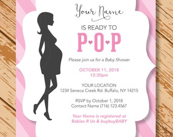 Ready to Pop Baby Shower Invite, Pop Baby Shower Invitation, Boy or Girl Baby Shower Invite, Customized, Printable