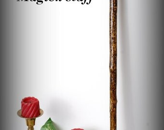 Walking staff, hiking stick, witches stave, topped with crystal and river stone, highlighted with beaded inlay.