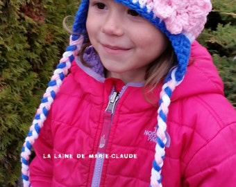 Pale pink, white and Royal Blue Tuque