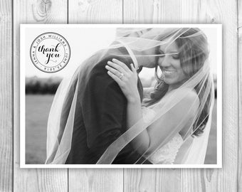 Postcard Thank You Card, Printable Digital File Thank You Postcard, Wedding Photo Thank You Card Digital