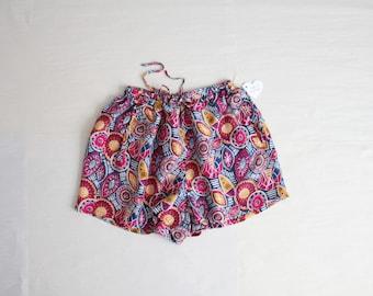 printed silk lounge shorts / 90s silk shorts