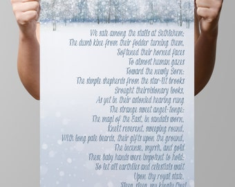 """INSTANT DOWNLOAD-Religious-Christian-Christmas-Winter-Snow-Forest-The Holy Night-Poem-Elizabeth Browning-Lyrics-3 sizes-8.5x11-16x20""""-No.356"""
