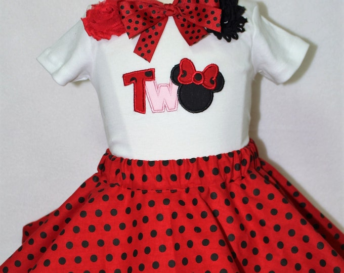 Minnie Mouse inspired Second birthday outfit, 2nd birthday outfit,Girl 2nd birthday, Minnie birthday shirt, Minnie red polka dot twirl skirt