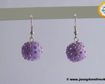 Polymer CLAY beads with chatons as earrings