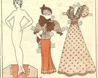 Vintage Decoupage Cutout Paper doll Digital Instant Download Papercrafting Scrapbooking