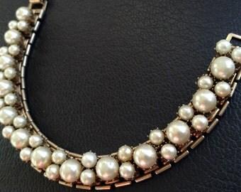 Gold Tone Faux Pearl 1930s Bracelet