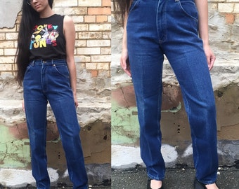 "Vintage Dark Wash High Waisted Lee Mom Jeans, Dark Wash Denim 26"" 27"" Waist"
