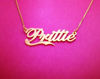 Gold Name Necklace Cat Deeley Name Necklace Gold Milo Name Necklace Cat Deeley Name plate Necklace Gift Cat Deeley Nameplate Necklace